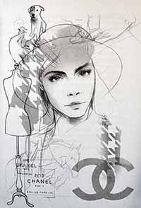 Illustratie van Coco Chanel uit het boek 'Meisjes met dromen', door Monique van den Hout
