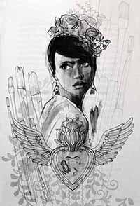 Illustratie van Frida Kahlo uit het boek 'Meisjes met dromen', door Monique van den Hout