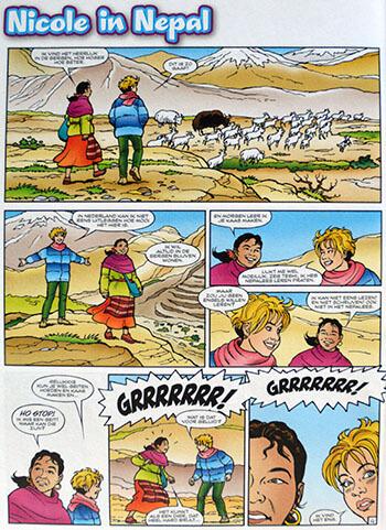 Strip 'Nicole in Nepal', uit Powergirls van de Tina. Geschreven door Paulien Andriessen.