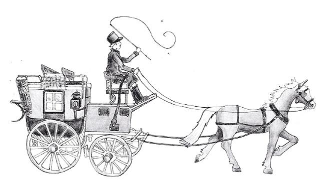 Illustratie van een koets uit het boek 'Een baantje op de borg ', door Yvonne Komduur